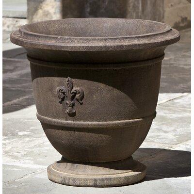 """Fleur de Lis Cast Stone Urn Planter Color: Verde, Size: 17.25"""" H x 19"""" W x 19"""" D"""