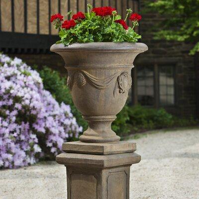 Tivoli Pedestal Cast Stone Urn Planter Color: Ferro Rustico Nuovo