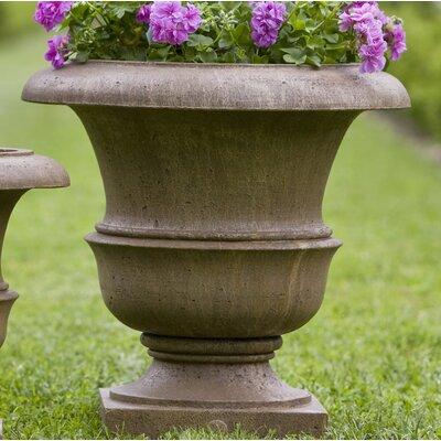 """Williamsburg Cast Stone Urn Planter Size: 22"""" H x 22"""" W x 22"""" D, Color: Ferro Rustico Nuovo"""