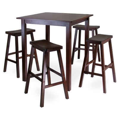 Auburn Road 5 Piece Dining Set with 4 Saddle Seat Stools