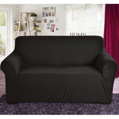Box Cushion Loveseat Slipcover Color: Black