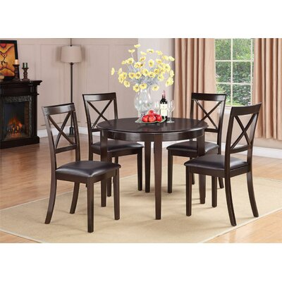 Hillhouse 5 Piece Dining Set Upholstery: Faux Leather