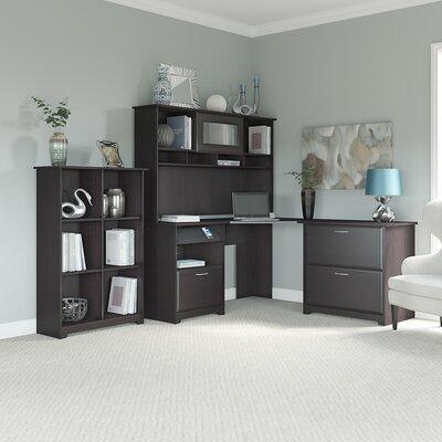 Hillsdale 3-Piece Corner Desk Office Suite Color: Espresso Oak