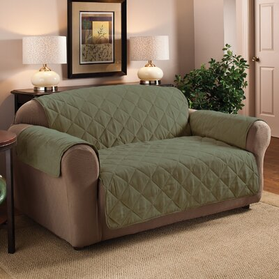 Box Cushion Sofa Slipcover Upholstery: Sage