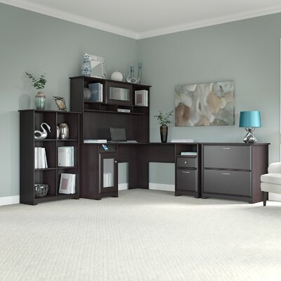 Hillsdale L-Shape Executive Desk Office Suite Color: Espresso Oak