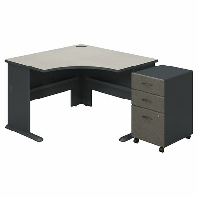 Series A L-Shape Executive Desk with 3 Drawer Mobile Pedestal Color: Slate White Spectrum