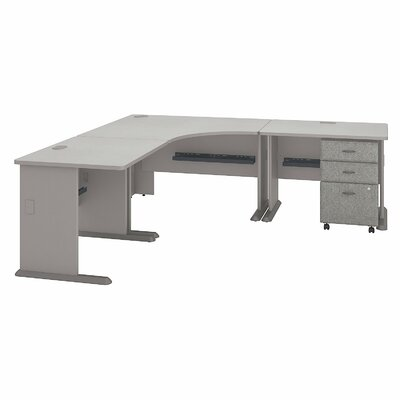 Series A L-Shape Executive Desk Color: Pewter White Spectrum