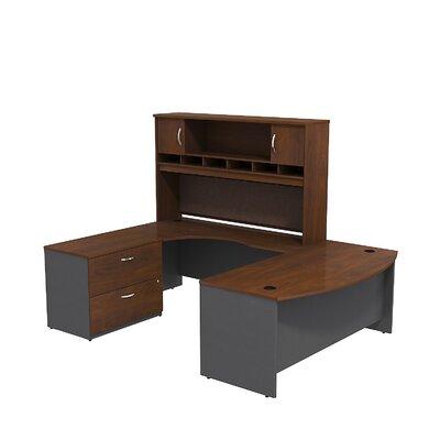 Series C U Shaped Desk Office Suite Color: Hansen Cherry/Graphite Gray