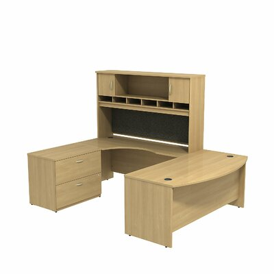 Series C U Shaped Desk Office Suite Color: Light Oak/Light Oak