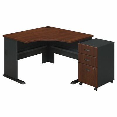 Series A L-Shape Executive Desk with 3 Drawer Mobile Pedestal Color: Hansen Cherry
