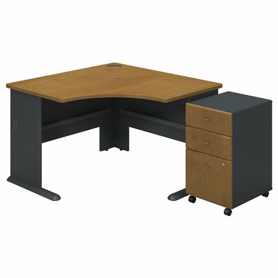 Series A L-Shape Executive Desk with 3 Drawer Mobile Pedestal Color: Natural Cherry