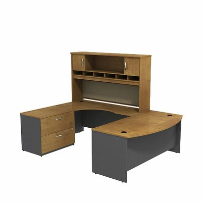 Series C U Shaped Desk Office Suite Color: Natural Cherry/Graphite Gray