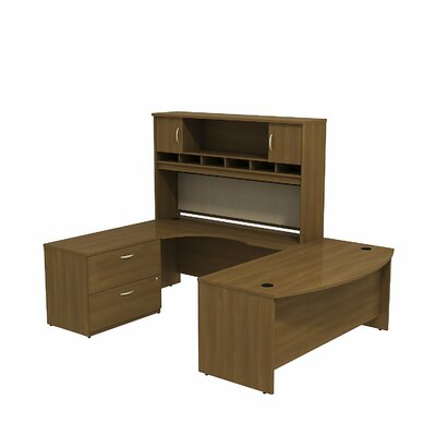 Series C U Shaped Desk Office Suite Color: Warm Oak/Warm Oak