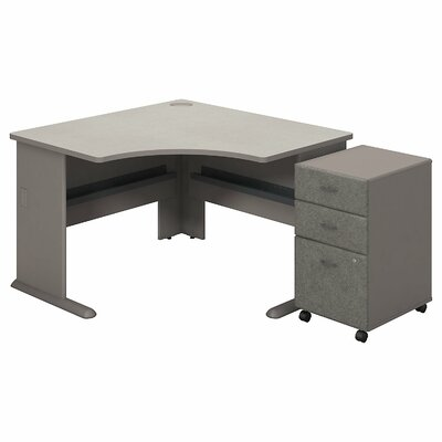 Series A L-Shape Executive Desk with 3 Drawer Mobile Pedestal Color: Pewter White Spectrum
