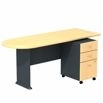 "Series A 29.78"" H x 71.18"" W Desk Peninsula Finish: Beech/Slate"