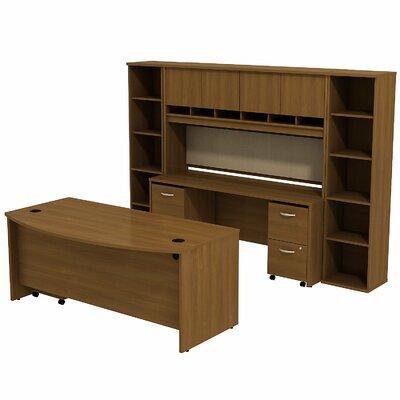 Series C Bow Front 6 Piece Desk Office Suite Color: Warm Oak