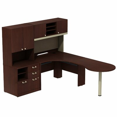 Quantum Peninsula 3 Piece Desk Office Suite Color: Harvest Cherry