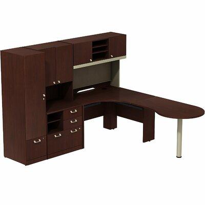 Quantum Peninsula 3 Piece L-Shape Desk Office Suite Color: Harvest Cherry