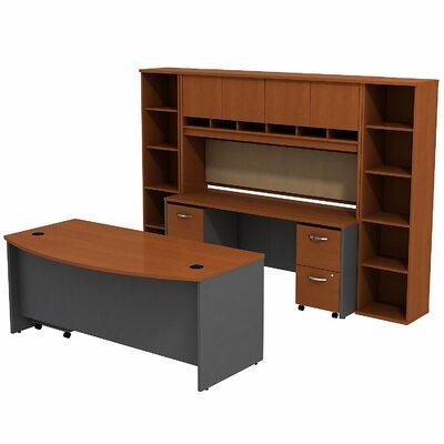 Series C Bow Front 6 Piece Desk Office Suite Color: Auburn Maple/Graphite Gray