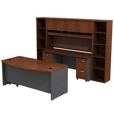 Series C Bow Front 6 Piece Desk Office Suite Color: Hansen Cherry