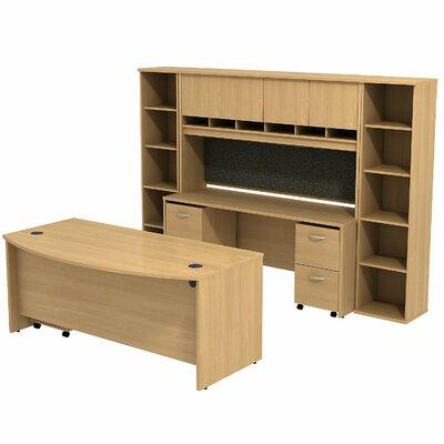 Series C Bow Front 6 Piece Desk Office Suite Color: Light Oak/Light Oak