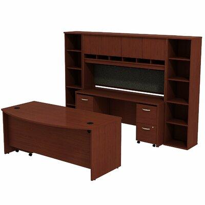 Series C Bow Front 6 Piece Desk Office Suite Color: Mahogany/Mahogany