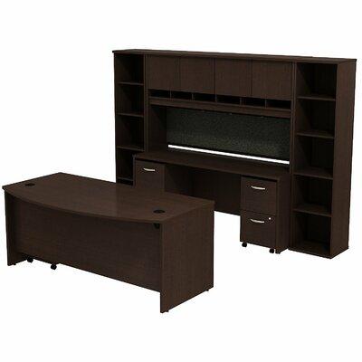 Series C Bow Front 6 Piece Desk Office Suite Color: Mocha Cherry/Mocha Cherry