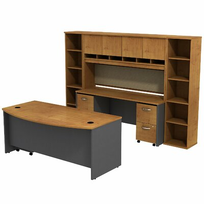 Series C Bow Front 6 Piece Desk Office Suite Color: Natural Cherry/Graphite Gray