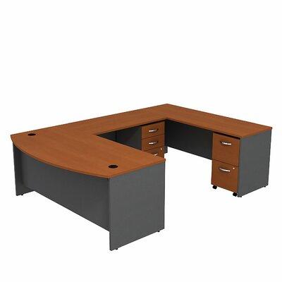 Series C Bow Front U-Shape Executive Desk Color: Auburn Maple/Graphite Gray