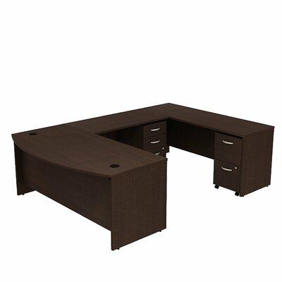Series C Bow Front U-Shape Executive Desk Color: Mocha Cherry/Mocha Cherry