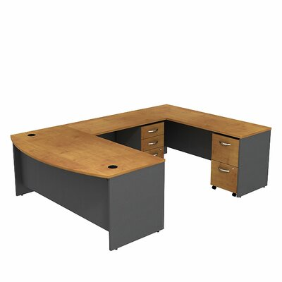 Series C Bow Front U-Shape Executive Desk Color: Natural Cherry/Graphite Gray