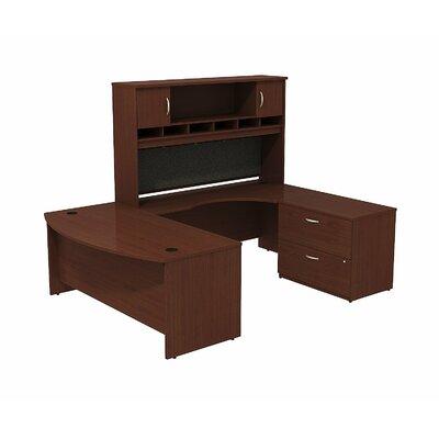 Series C Bow Front U Shaped Desk with Hutch and Storage Color: Mahogany/Mahogany