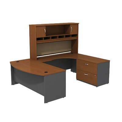 Series C Bow Front U Shaped Desk with Hutch and Storage Color: Auburn Maple/Graphite Gray