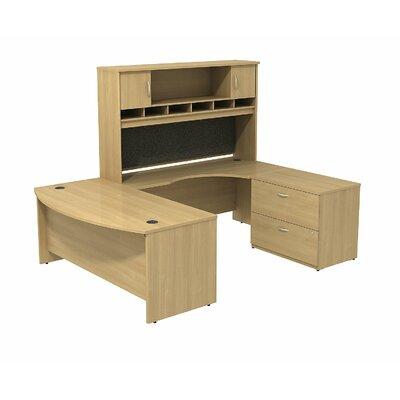 Series C Bow Front U Shaped Desk with Hutch and Storage Color: Light Oak/Light Oak