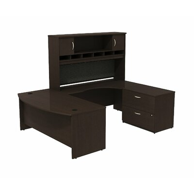 Series C Bow Front U Shaped Desk with Hutch and Storage Color: Mocha Cherry/Mocha Cherry