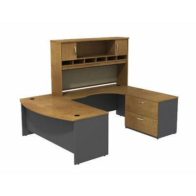 Series C Bow Front U Shaped Desk with Hutch and Storage Color: Natural Cherry/Graphite Gray