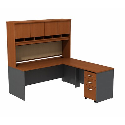 Series C L Shaped Desk Office Suite Color: Auburn Maple/Graphite Gray