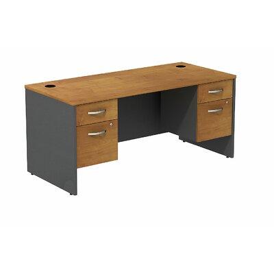 "Series C Executive Desk Color: Natural Cherry/Graphite Gray, Size: 30"" H x 66"" W x 30"" D"