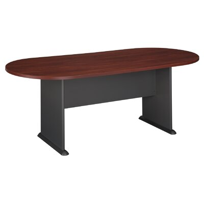 "Racetrack Oval 29.76""H x 34.49""W x 81.54""L Conference Table Finish: Hansen Cherry with Galaxy Base"