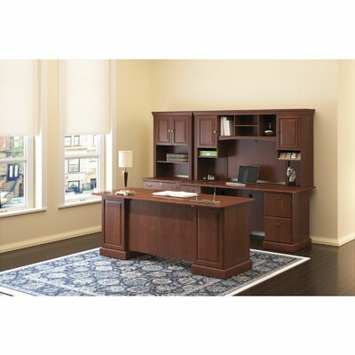 Syndicate Double Pedestal 3 Piece Desk Office Suite Color: Harvest Cherry