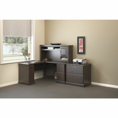 Syndicate 2 Piece L-Shape Desk Office Suite Color: Mocha Cherry