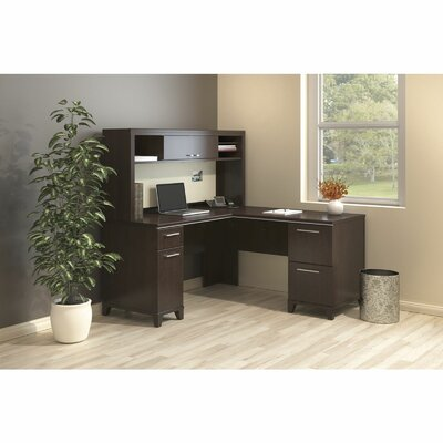 Enterprise 3 Piece L-Shape Desk Office Suite Color: Mocha Cherry