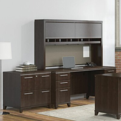 Enterprise Double Pedestal 2 Piece Desk Office Suite Color: Mocha Cherry