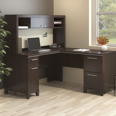 Enterprise Corner 2 Piece L-Shaped Desk Office Suite Color: Mocha Cherry