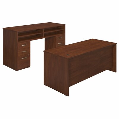 Series C Elite 2 Piece Desk Office Suite Color: Hansen Cherry