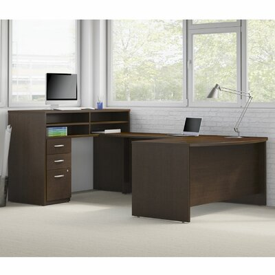 Series C Elite 4 Piece U-Shape Desk Office Suite Color: Mocha Cherry