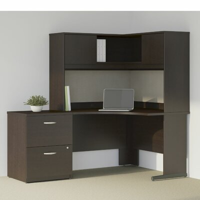 Series C Elite 4 Piece L-Shape Desk Office Suite Color: Mocha Cherry