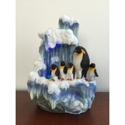 Artistic Sculptural Penguin Family on Iceberg Tabletop Water Fountain
