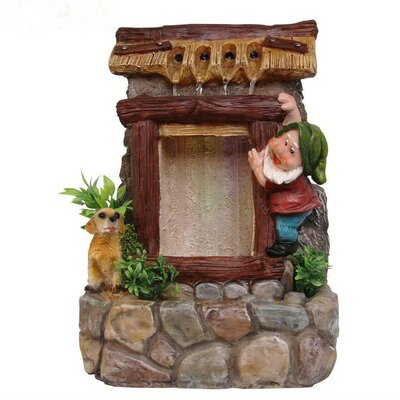 Resin Cute Gnome and Dog Sculptural Fountain