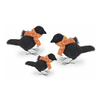 3 Piece Felted Raven Figurines with Scarf Set